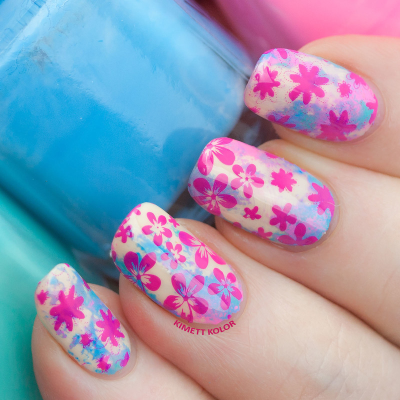 Washed Away With Flowers nail art by Kimett Kolor