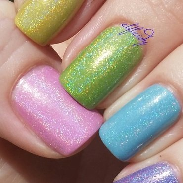 Cupcake Polish Back to the Fuchsia, Cupcake Polish Lilac You Mean It, Cupcake Polish Instant Re-Leaf, Cupcake Polish Daisy in Love, and Cupcake Polish Plant Parenthood Swatch by Jenette Maitland-Tomblin