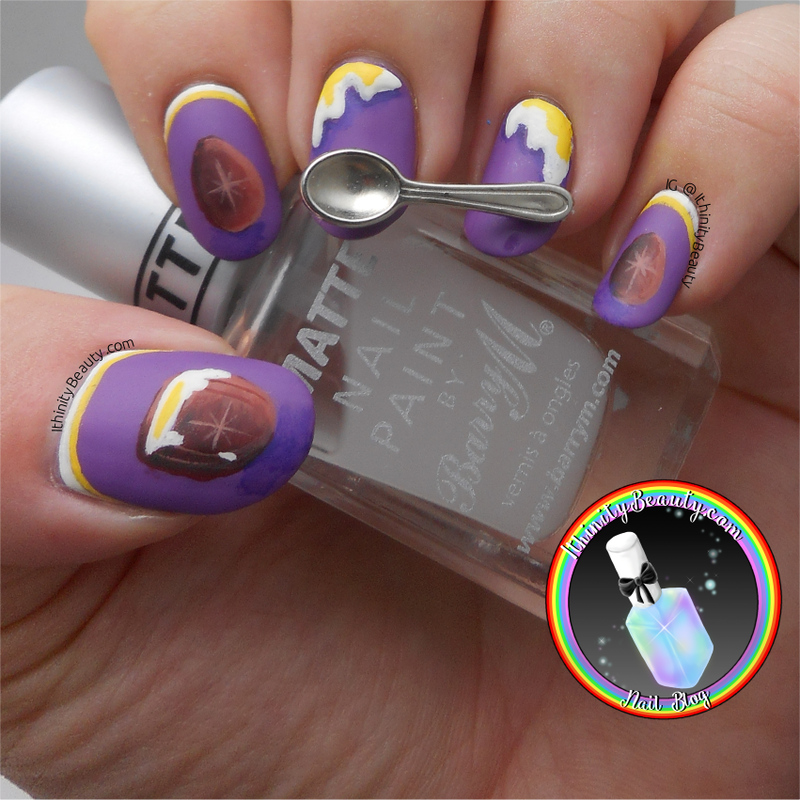 Freehand Cadbury Cream Egg - Easter Nail Art nail art by Ithfifi Williams