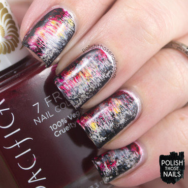 Red white black distressed abstract nail art 4 thumb370f