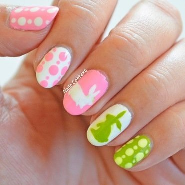 Easter Bunny nail art by NailsContext