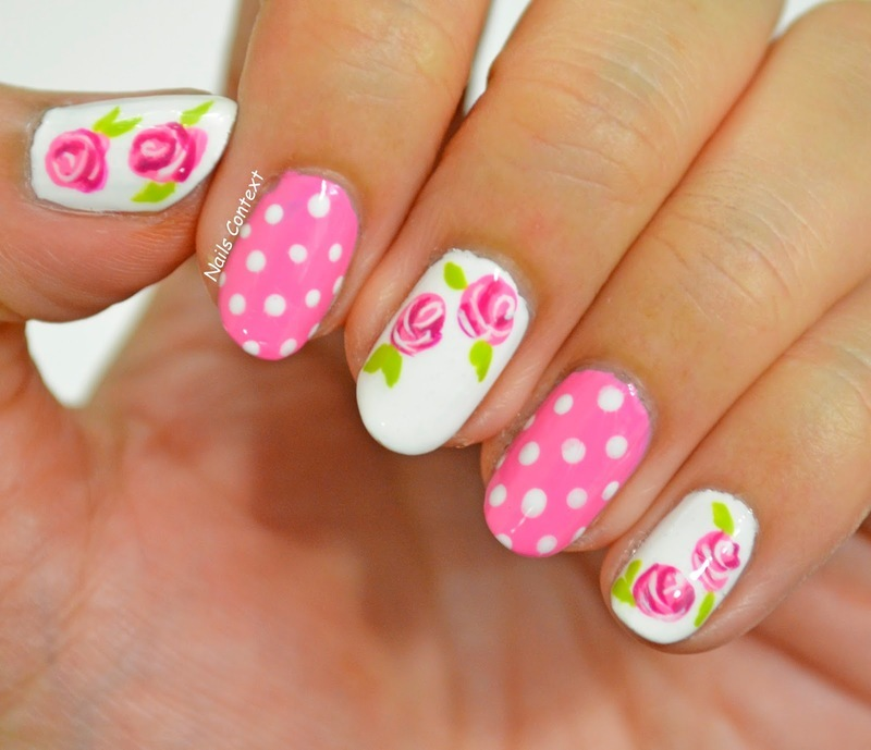 Pink Roses nail art by NailsContext