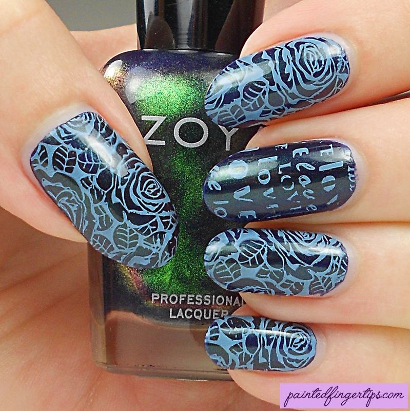 Blue rose stamping nail art by Kerry_Fingertips