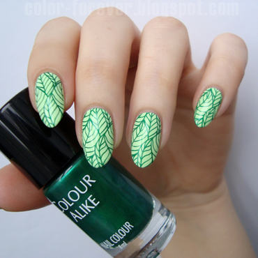 spring leaves nail art by ania