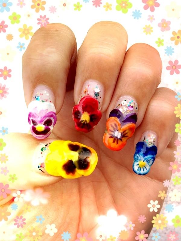 pansy garden nail art by Idreaminpolish