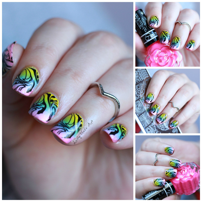Nail art stamping water marble  nail art by Lovely Nail's  Art