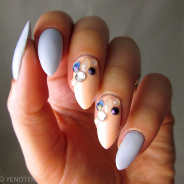 Pastel with rhinestones nail art by Yenotek