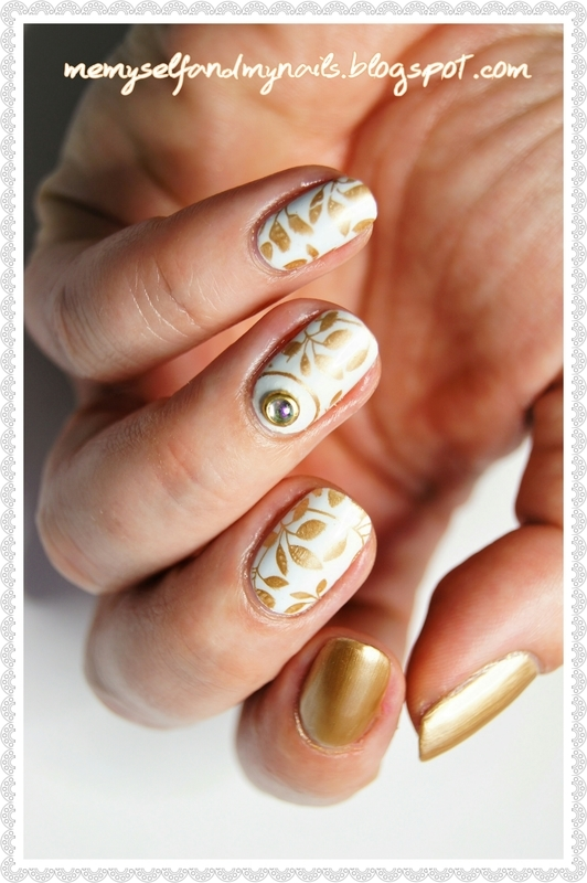 Golden leaf nail art by ELIZA OK-W