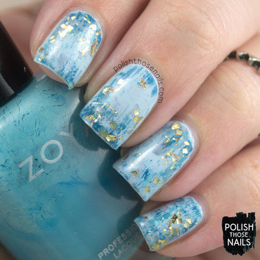 Gold Distressed To Blue nail art by Marisa  Cavanaugh