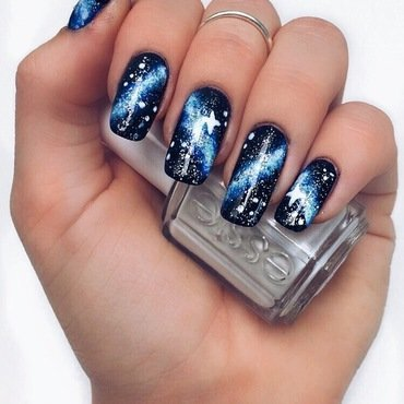 Blue Galaxy nail art by Camilla Nielsen