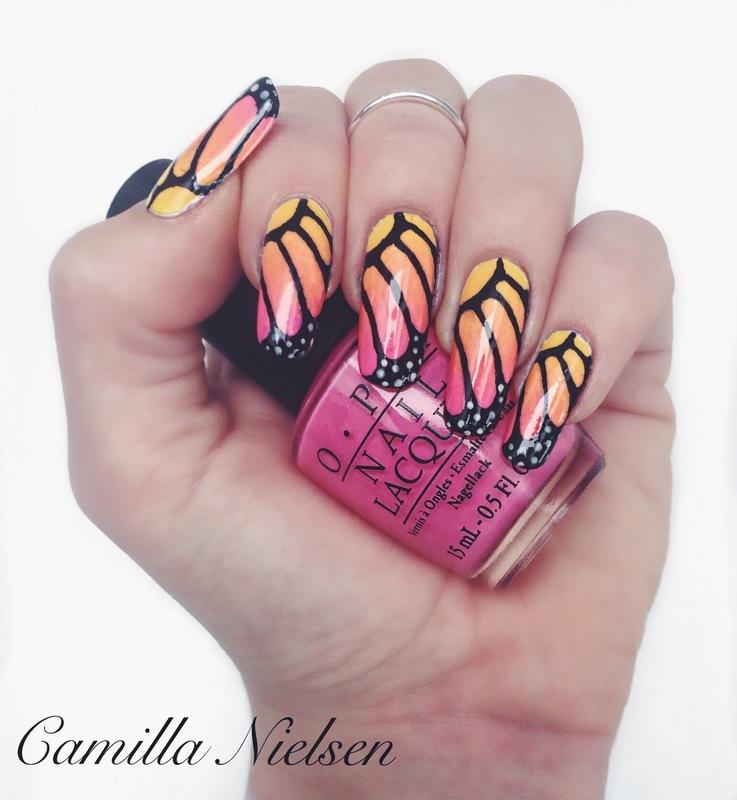 Butterfly Wings nail art by Camilla Nielsen