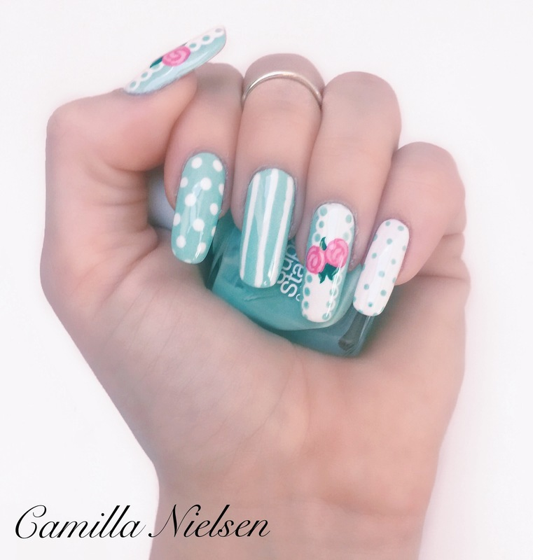 Roses and blue lace nail art by Camilla Nielsen