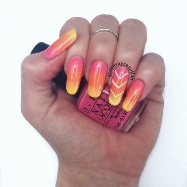 Ombré Sunrise nail art by Camilla Nielsen