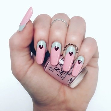 Romantic reverse french manicure nail art by Camilla Nielsen