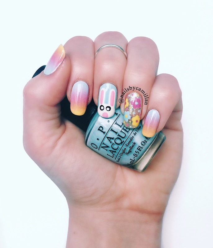 Easter bunny nail art by Camilla Nielsen