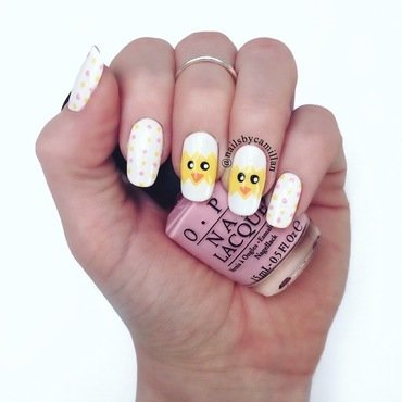 Easter chicks nail art by Camilla Nielsen