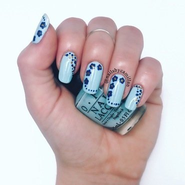 Blue spring nail art by Camilla Nielsen