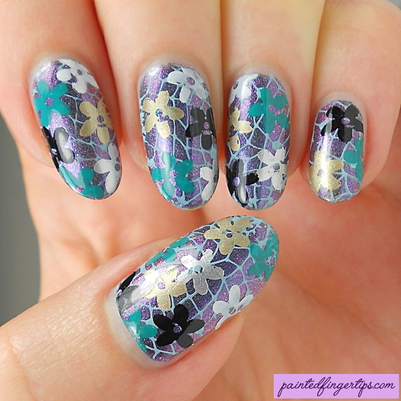 Flower garden stamping nail art by Kerry_Fingertips