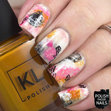 Pink neutral geometric abstract painting nail art 4 thumb370f