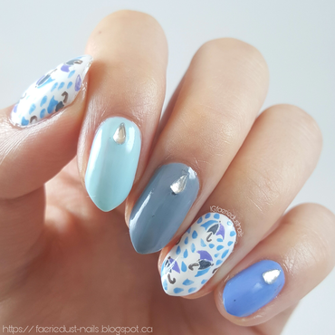 Umbrella Print nail art by Shirley X.