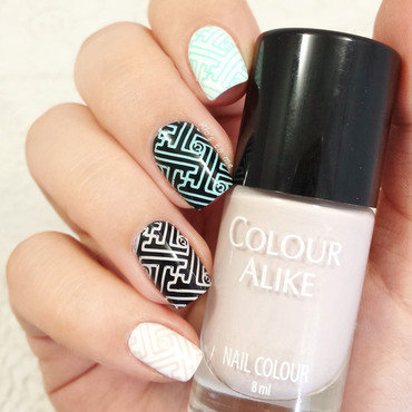 Sky blue and coffee nail art by klo-s-to-me