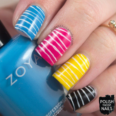 Cmyk graphic design stripe pattern nail art 4 thumb370f