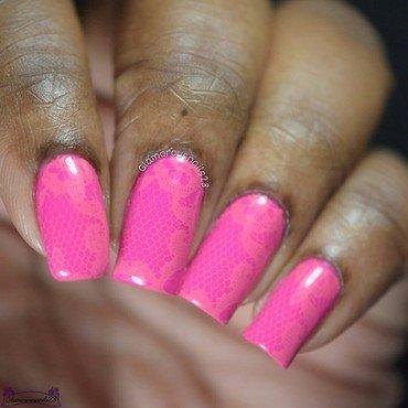 Pink Monochromatic Stamping nail art by glamorousnails23