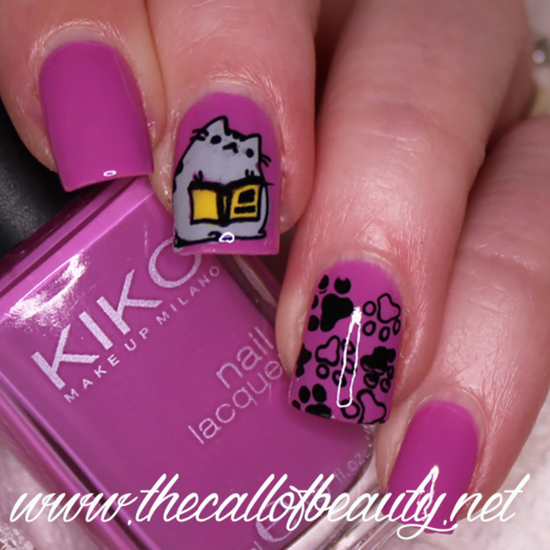 Pusheen Reads a Book nail art by The Call of Beauty