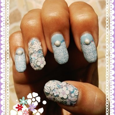 crochet and flowers nail art by Idreaminpolish