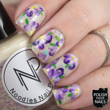One-Stroke Blossoms nail art by Marisa  Cavanaugh