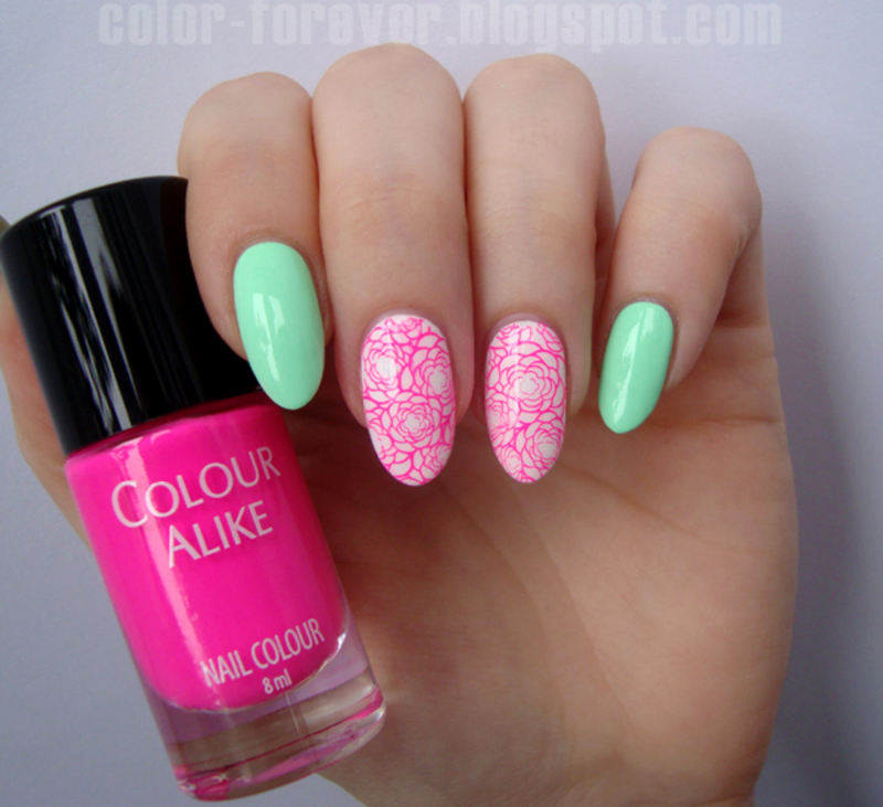 neon pink roses nail art by ania