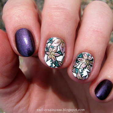 Purple flowers nail art by Nail Crazinesss