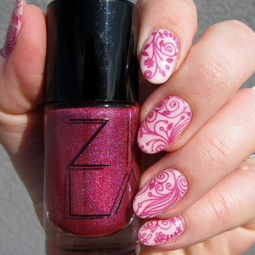 Pink and pink nail art by Nail Crazinesss