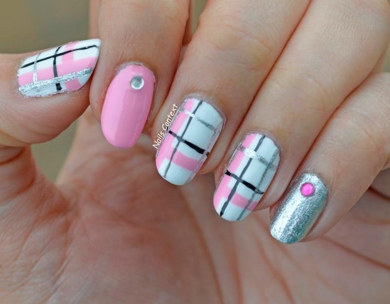 Plaid Pink nail art by NailsContext