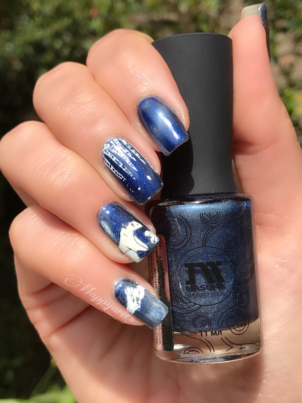 Arctic Life nail art with magnetic polish  nail art by Happy_aries