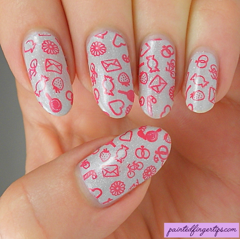 Cute sweet stamping nail art by Kerry_Fingertips