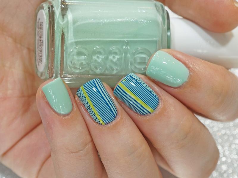 Mint Stripes nail art by Moriesnailart