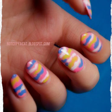 Colourful camouflage nail art by notcopyacat