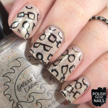 Neutral flakie glitter glasses pattern nail art 4 thumb370f