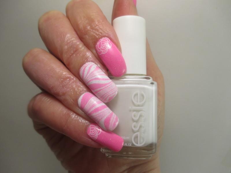 Pink Holo Watermarble nail art by NinaB