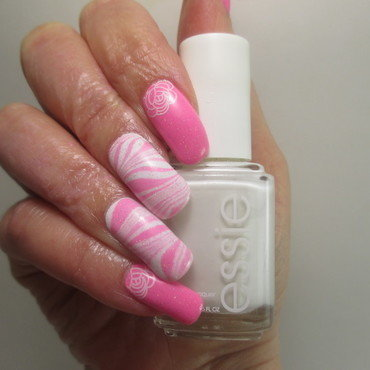 Pink Holo Watermarble nail art by NinaB