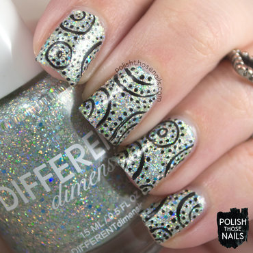 Different dimension pier pressure silver holo glitter pattern nail art 3 thumb370f