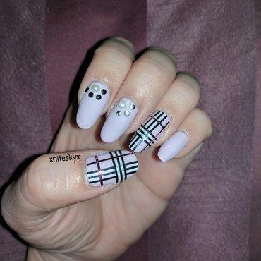 Pink Burberry Plaid nail art by xniteskyx