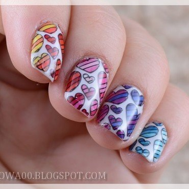 Colorful hearts nail art by Jadwiga