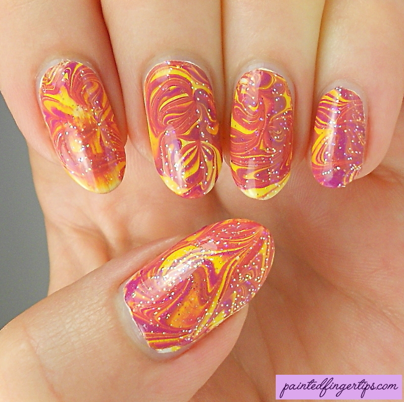 Purple and yellow water marble nail art by Kerry_Fingertips