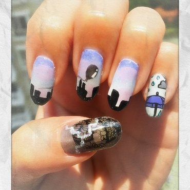 """black balloon"" by the kills (music series) nail art by Idreaminpolish"