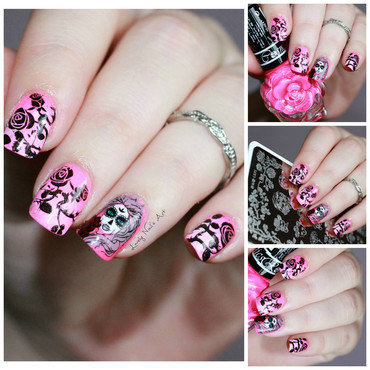 Nail art stamping catrina  nail art by Lovely Nail's  Art