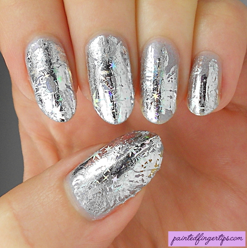 Silver nail foils nail art by Kerry_Fingertips