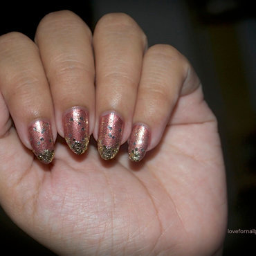 Bronze Nails with Gold Glitter nail art by Demi