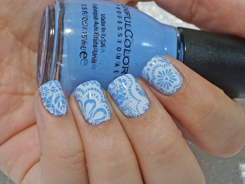 Periwinkle lace nail art by Moriesnailart